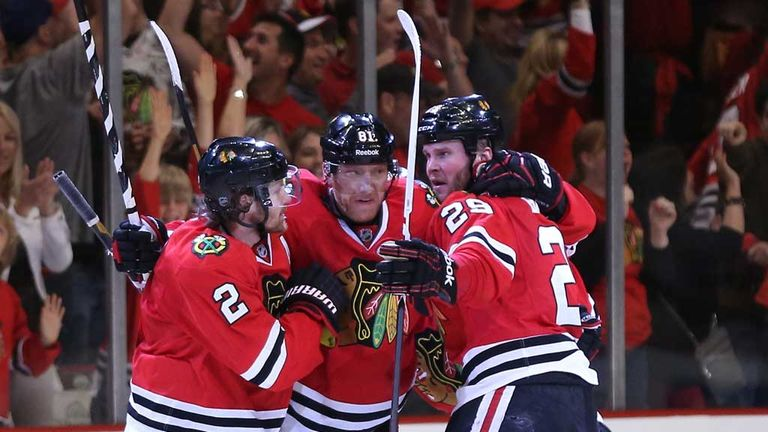 Marian Hossa: Chicago Blackhawks celebrate