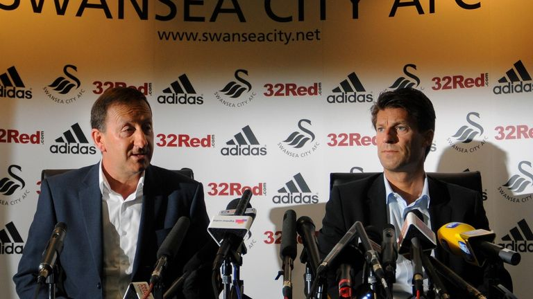Michael Laudrup: With his chairman Huw Jenkins