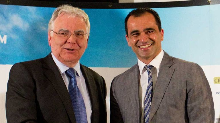 Bill Kenwright (L): Offered assurances to Roberto Martinez over transfers