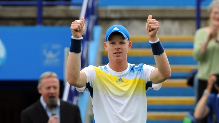 Kyle Edmund: earned second-round date with Gilles Simon in Eastbourne