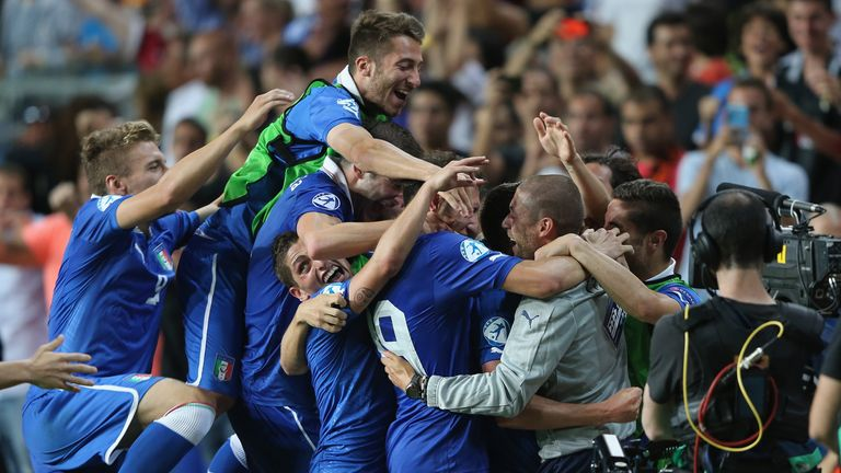 Fabio Borini: Mobbed after firing Italy into the European U21 Championship final