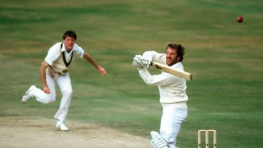 Ian Botham hooks Geoff Lawson on his way to 149no at Headingley in 1981
