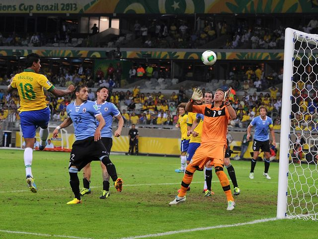 Paulinho heads home Brazil's winner
