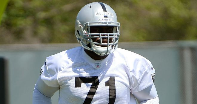 Menelik Watson in training with the Oakland Raiders