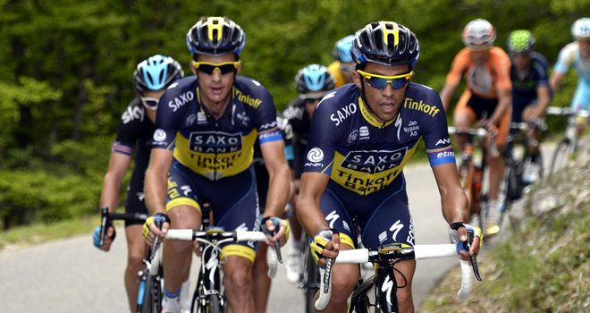 Alberto Contador with Michael Rogers at the recent Criterium du Dauphine