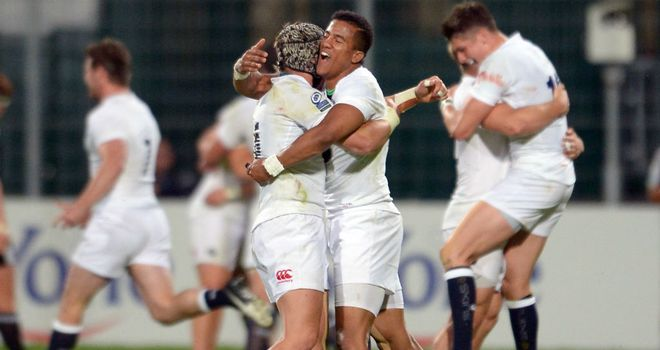 England celebrate their win over New Zealand