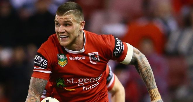 Josh Dugan in action for the Dragons