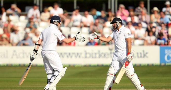 Tim Bresnan (right): Put on over 100 in an eighth-wicket stand with Graeme Swann (left)