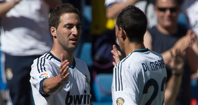 Higuain is congratulated after his goal