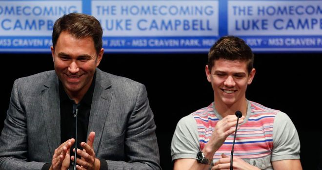 Eddie Hearn and Luke Campbell as Saturday's press conference