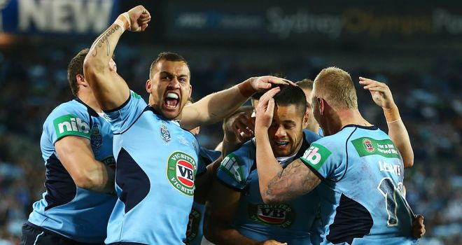Blake Ferguson (arm raised): Celebrates try in State of Origin opener