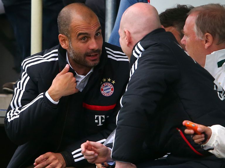 Pep Guardiola: On the bench for his first game
