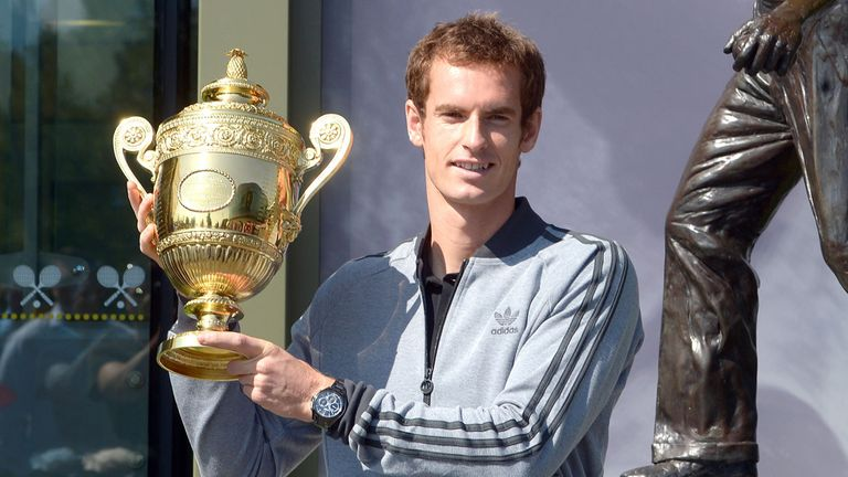 Andy Murray: Poses with Wimbledon trophy