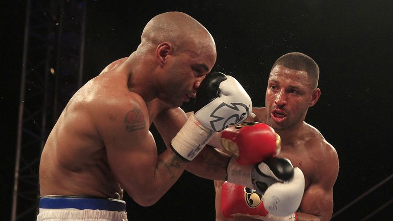 Kell Brook lands a right hand against Carson Jones (Pic Lawrence Lustig)