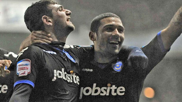 Nadir Ciftci celebrates with Hayden Mullins during his time at Portsmouth