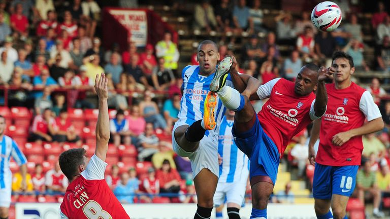 James Vaughan: Tangles with Lanre Oyebanjo at Bootham Crescent