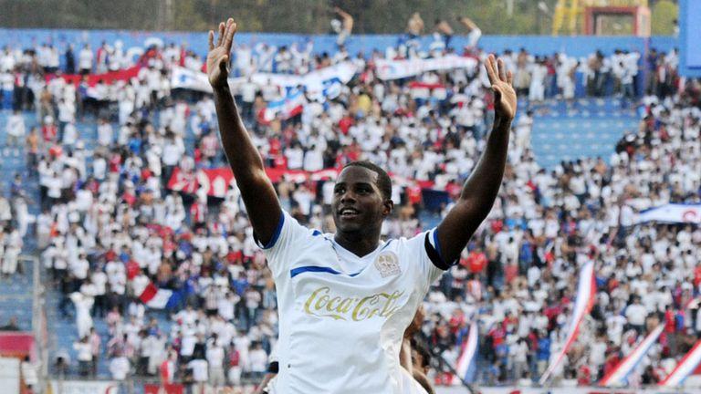Juan Carlos Garcia: Celebrates scoring for former club Olimpia