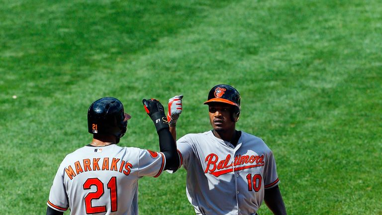 Adam Jones: Celebrates hitting a two-run home run in Sunday's 2-1 victory over the New York Yankees