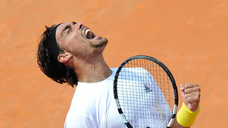 Fabio Fognini: Celebrates reaching the final of the Mercedes Cup ATP tennis tournament in Stuttgart