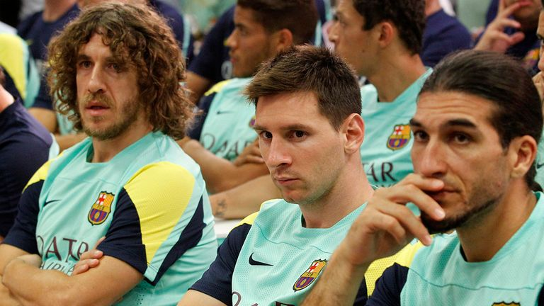 Carles Puyol (l): Working his way back to fitness