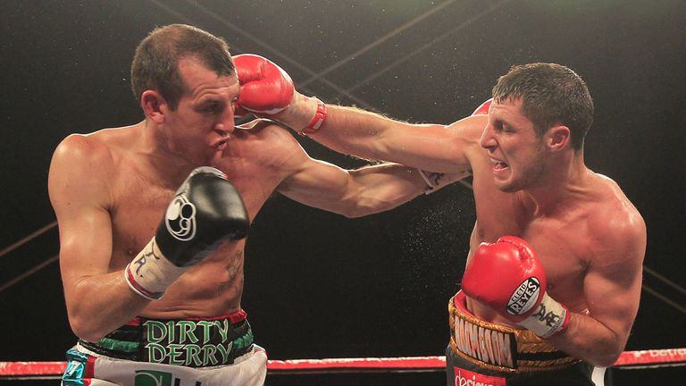 Derry Mathews (L): Landed the great equaliser to ends Coyle's ambitions (Pic Lawrence Lustig)