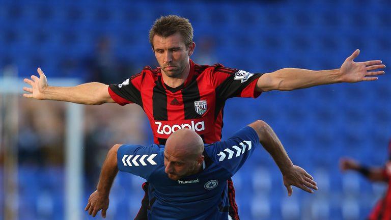 West Brom's Gareth McAuley in action against Atromitos