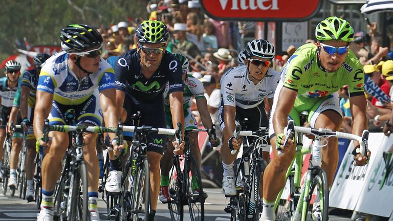 Simon Gerrans, left, held off Peter Sagan, right, to claim victory
