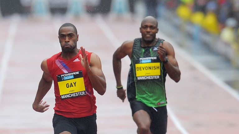 Tyson Gay and Marlon Devonish in competition in 2011