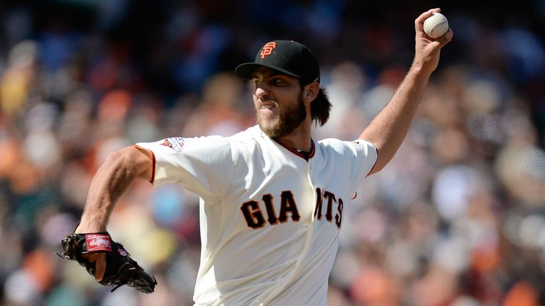 Madison Bumgarner: pitched seven strong innings as the Giants beat the Dodgers