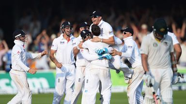 England celebrate Lord's victory over Australia