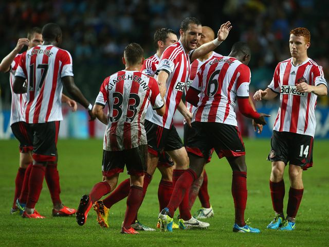 Sunderland celebrate on their way to victory over Spurs