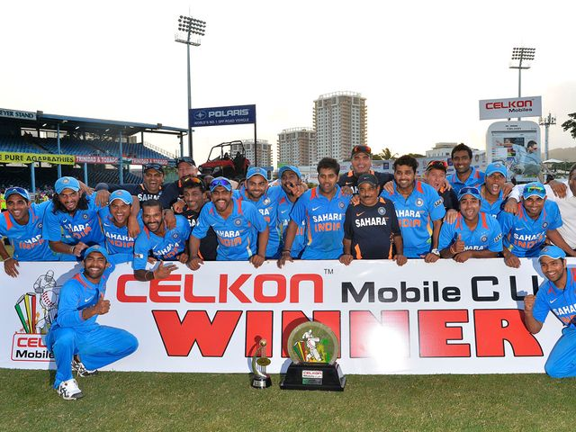 India celebrate their success in Port of Spain