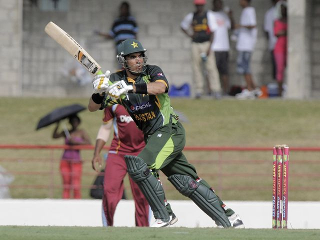Misbah-ul-Haq in action for Pakistan