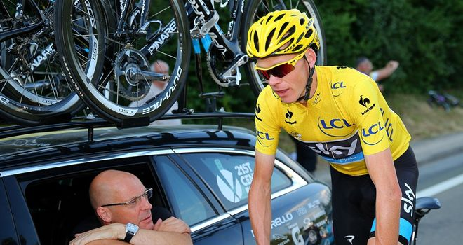 Sir Dave Brailsford, left, has paid tribute to Chris Froome, right