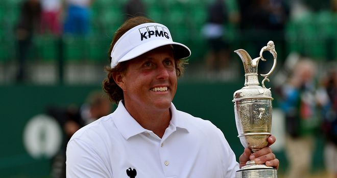 Phil Mickelson with the Claret Jug: Jack Nicklaus was impressed