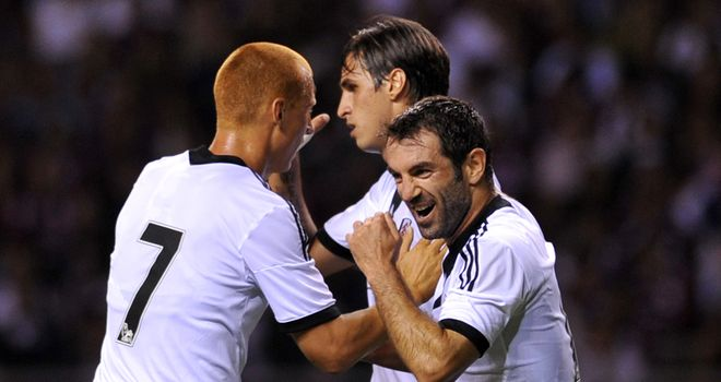 Bryan Ruiz: Celebrates goal for Fulham against Saprissa