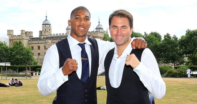 Anthony Joshua with Eddie Hearn (Pic Lawrence Lustig)
