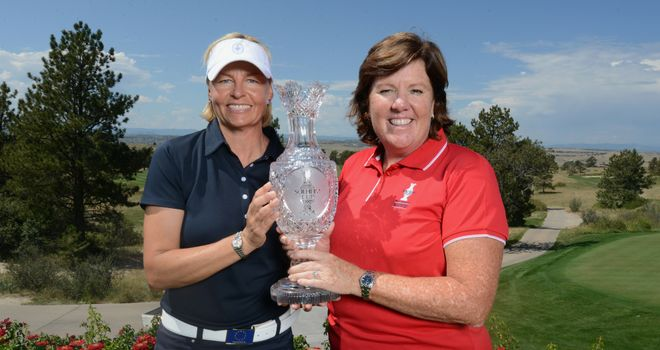 2013 Solheim Cup captains Liselotte Neumann of Europe and Meg Mallon of the USA