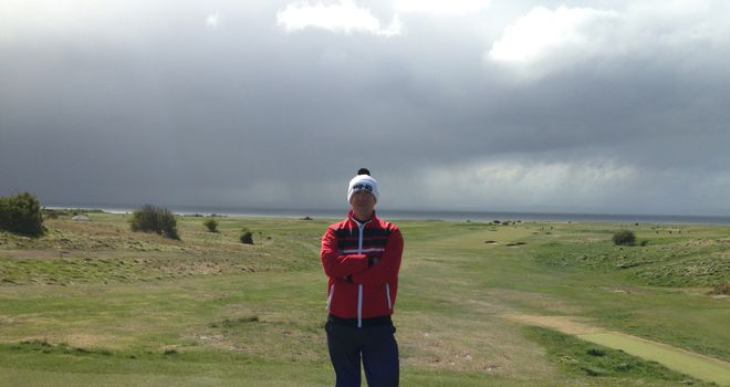 Dave Tindall on the third tee at Gullane No.1