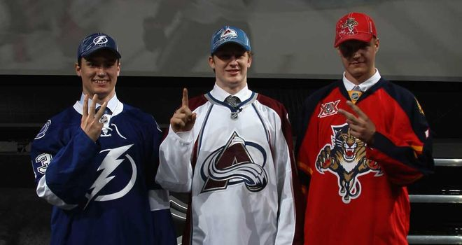 Jonathan Drouin, Nathan Mackinnon and Aleksander Barkov at the NHL Draft