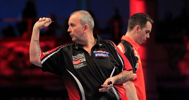 Phil Taylor beats Stuart Kellett at the World Matchplay at the Winter Gardens in Blackpool.