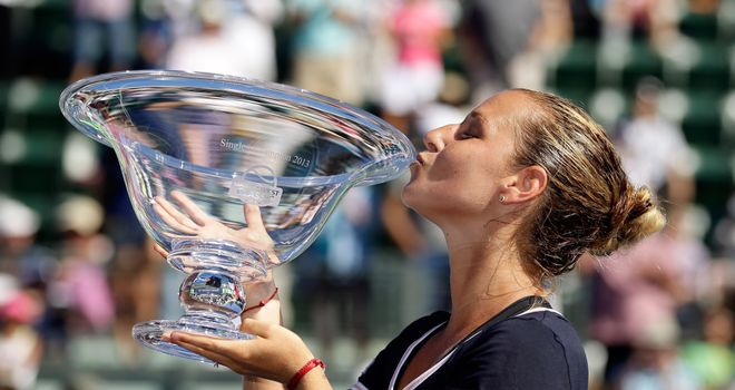 Dominika Cibulkova: earned first career win over Agnieszka Radwanska at fifth attempt