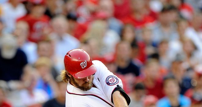 Jayson Werth: knocked in five runs in Monday's 10-5 success over the Brewers