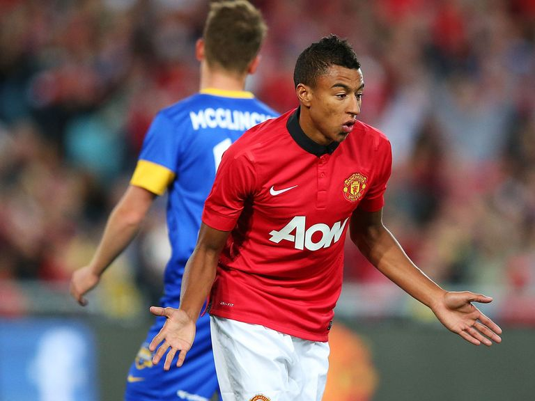 Jesse Lingard celebrates his second goal for United