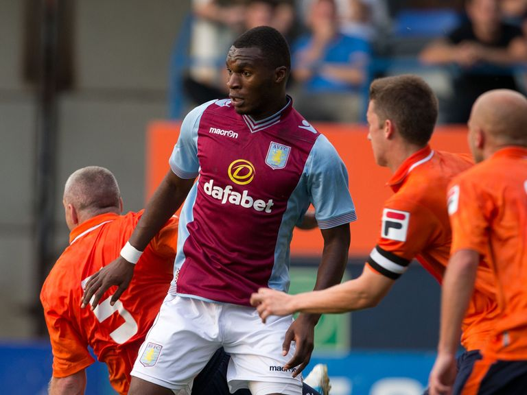 Christain Benteke in action for Aston Villa