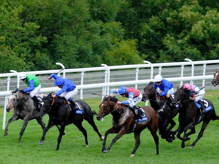Excess Knowledge (pink cap) heads 19 runners for the St Leger