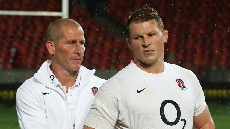 Stuart Lancaster (left) and Dylan Hartley: England head coach is giving Northampton hooker another chance