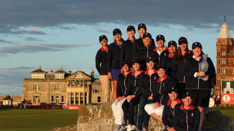 The 2013 US Solheim Cup team pose on the Swilcan Bridge at St Andrews following the announcement of the team