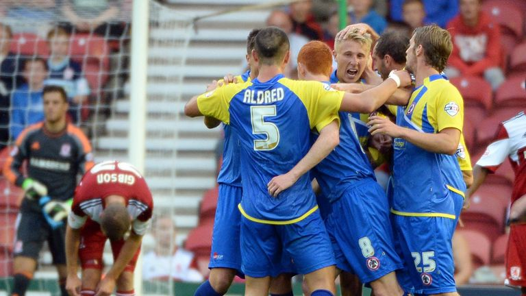 Accrington: Celebrate their opening goal at Middlesbrough