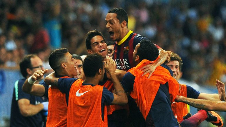 Adriano: Celebrates scoring Barcelona's winner against Malaga